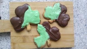 Chocolate Dipped Shamrock Cookies