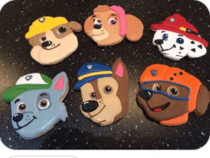 Paw Patrol Cookie Set created using our 3D Printed Cookie Cutters which we specifically created