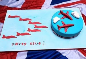 Red Arrows cake, with Red Arrow Plan decoration using our 3d Printed Cookie Cutter