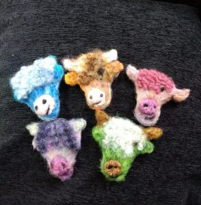 Felted Cows created using our 3D Printed Cow Cookie Cutter