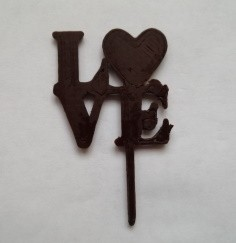 Love Symbol Cake Topper created with 3D Chocolate Printer