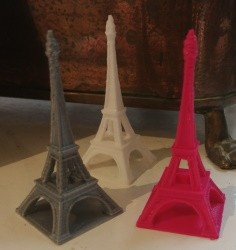 3D Printed Eiffel Towers in Pink, White and Silver