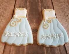 Dress Cookies as wedding favours created using a customised Cookie Cutter 3D Printed