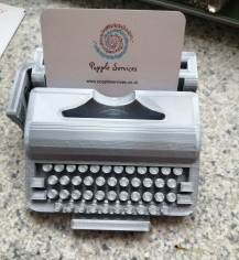 Typewriter Business Card in Silver filament all 3D Printed